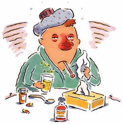 Tecknad bild på man som är sjuk i influensa