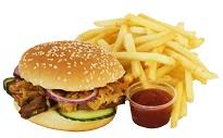 fet mat i form av strips och hamburgare