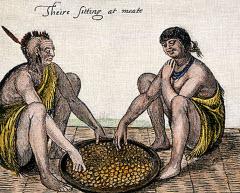 Gammal målning på indianer som äter