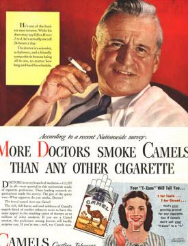 Gammal amerikansk tidningsannons för cigaretter