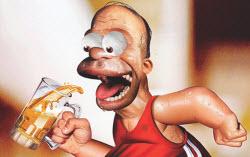 Homer springer med en öl i handen
